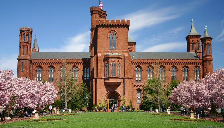The Smithsonian Castle is right next to the Smithsonian metro stop in Washington, D.C.