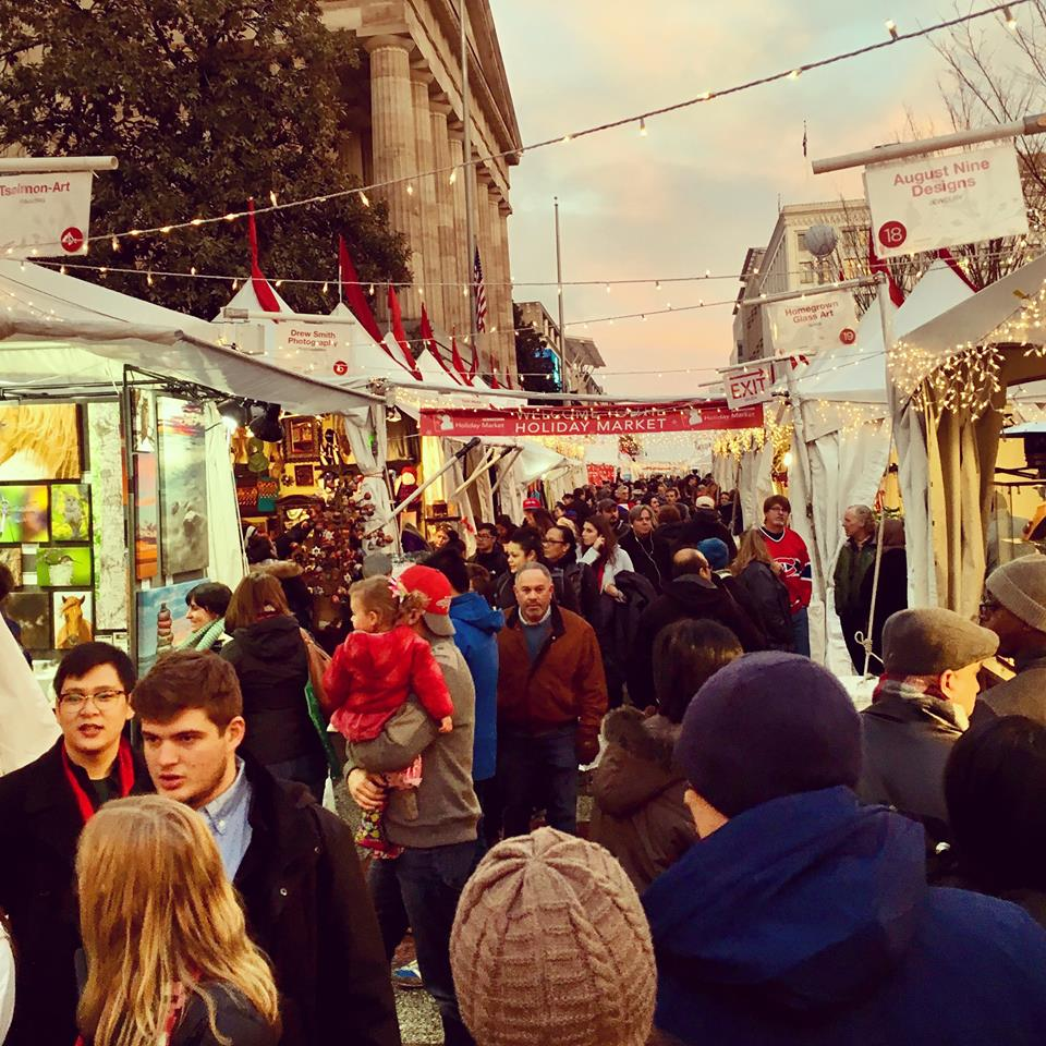people shopping at the DC holiday market