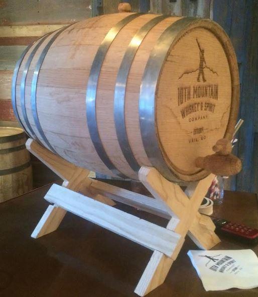 A 5-gallon barrel at 10th Mountain distillery.