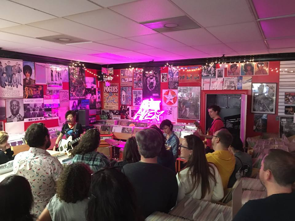dc band ex hex performing in-store, courtesy of Facebook