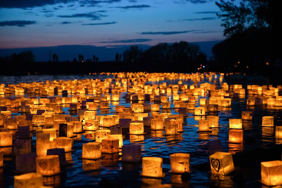 view of lanterns floating in water, courtesy of facebook