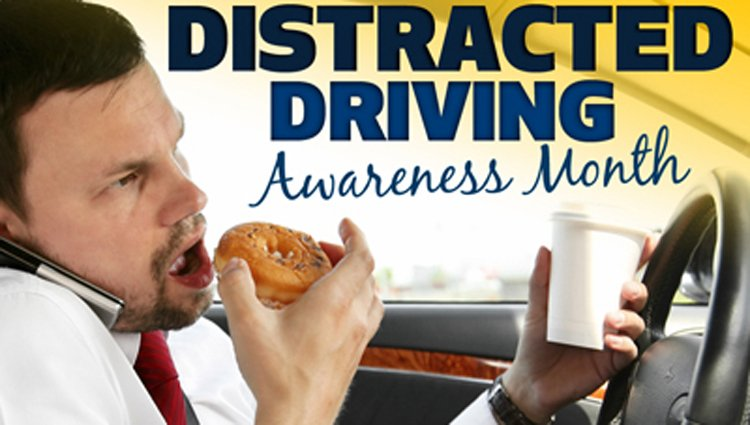 Eating while driving is a distraction.