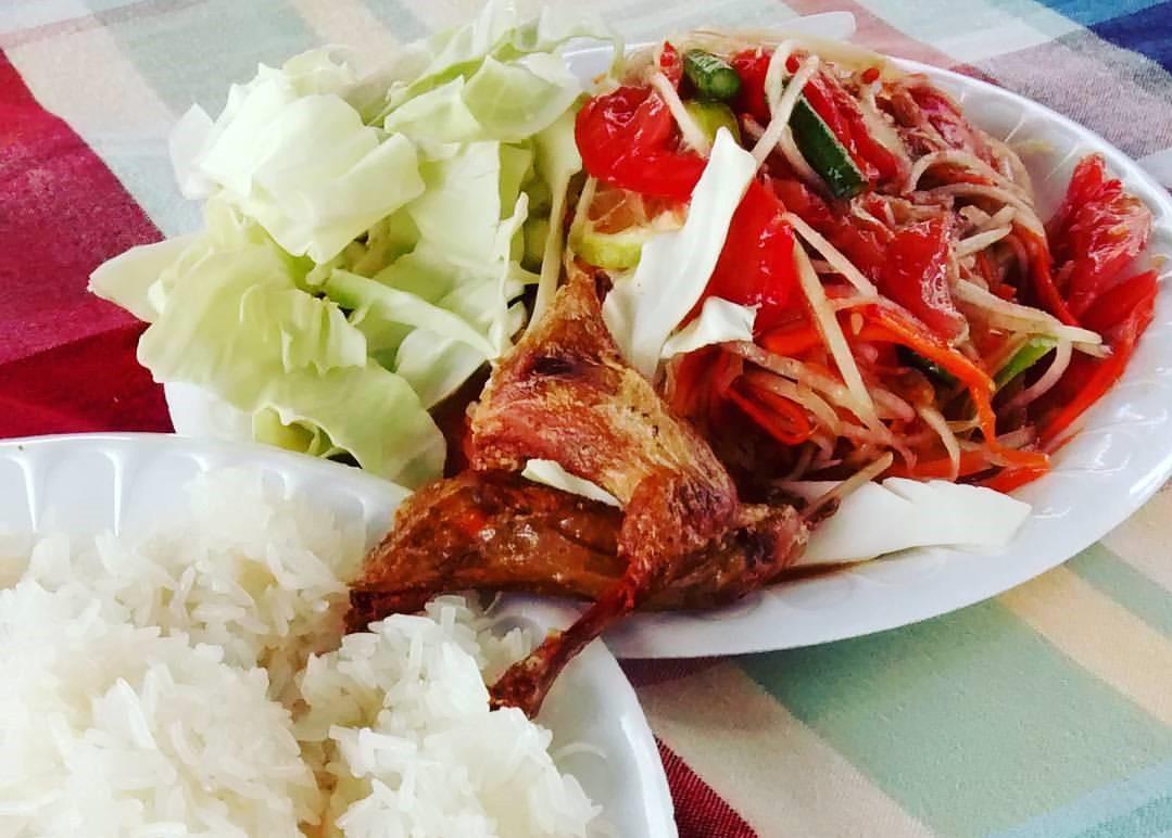 rice, salad, quail