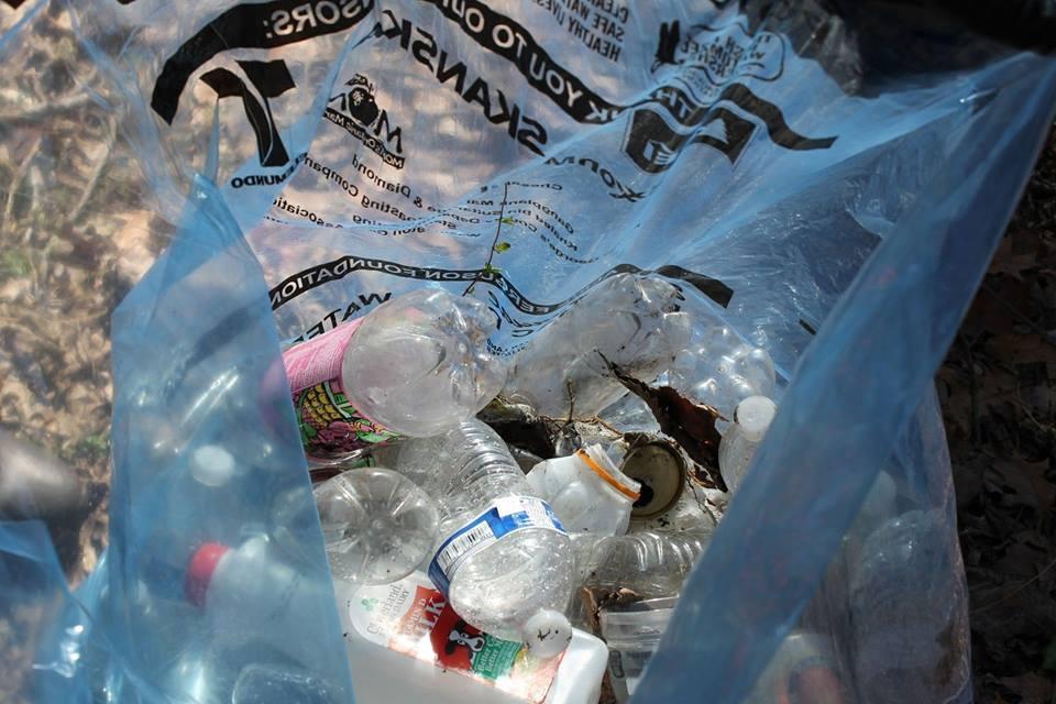 water bottles, trash