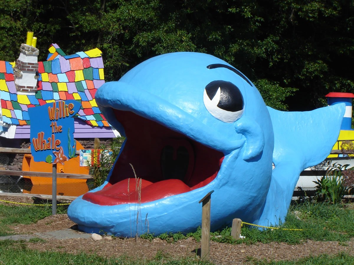 Willie The Whale is preserved from the original abandoned amusement park at Clark's Elioak Farm.