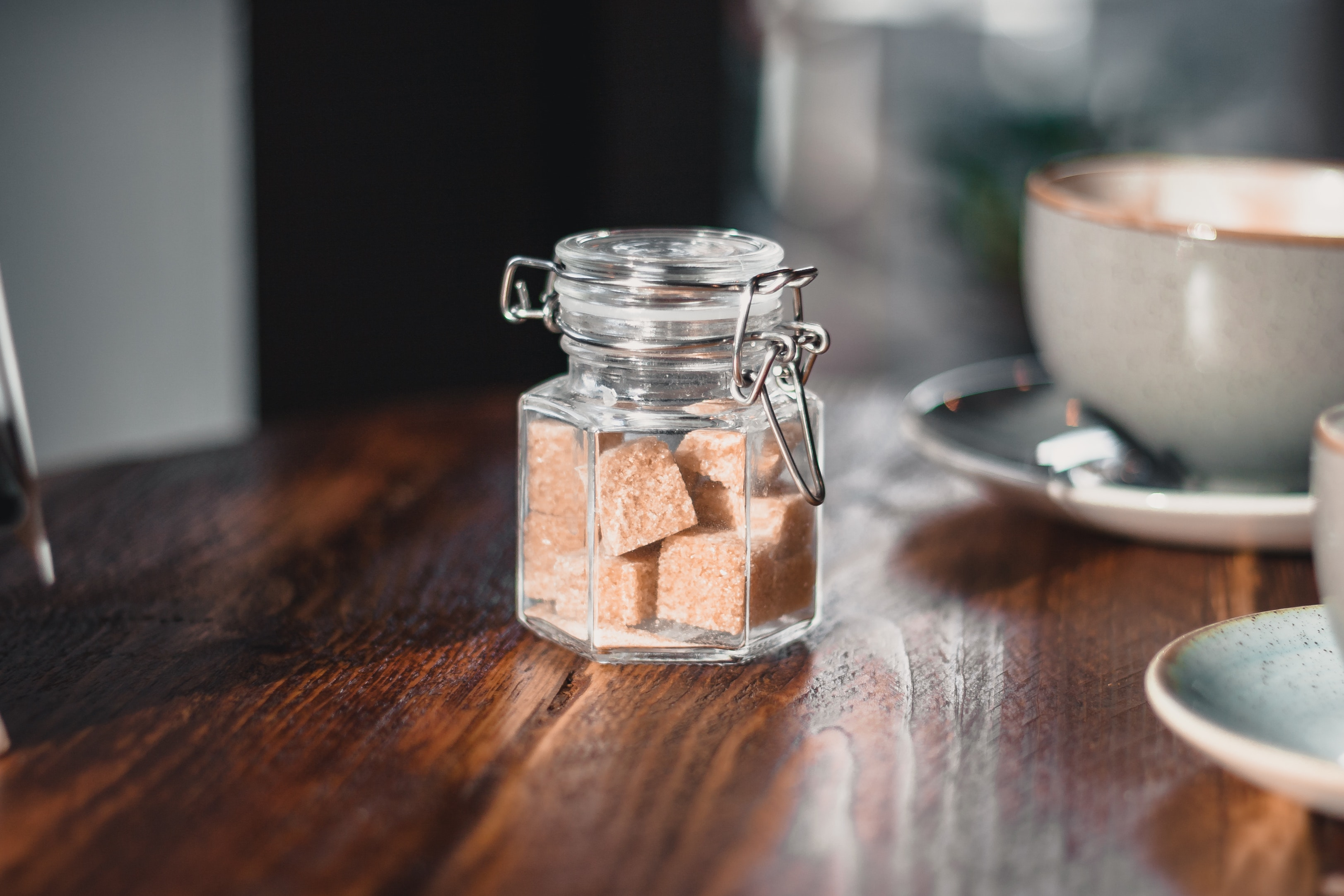 sugar cubes in glass bottle