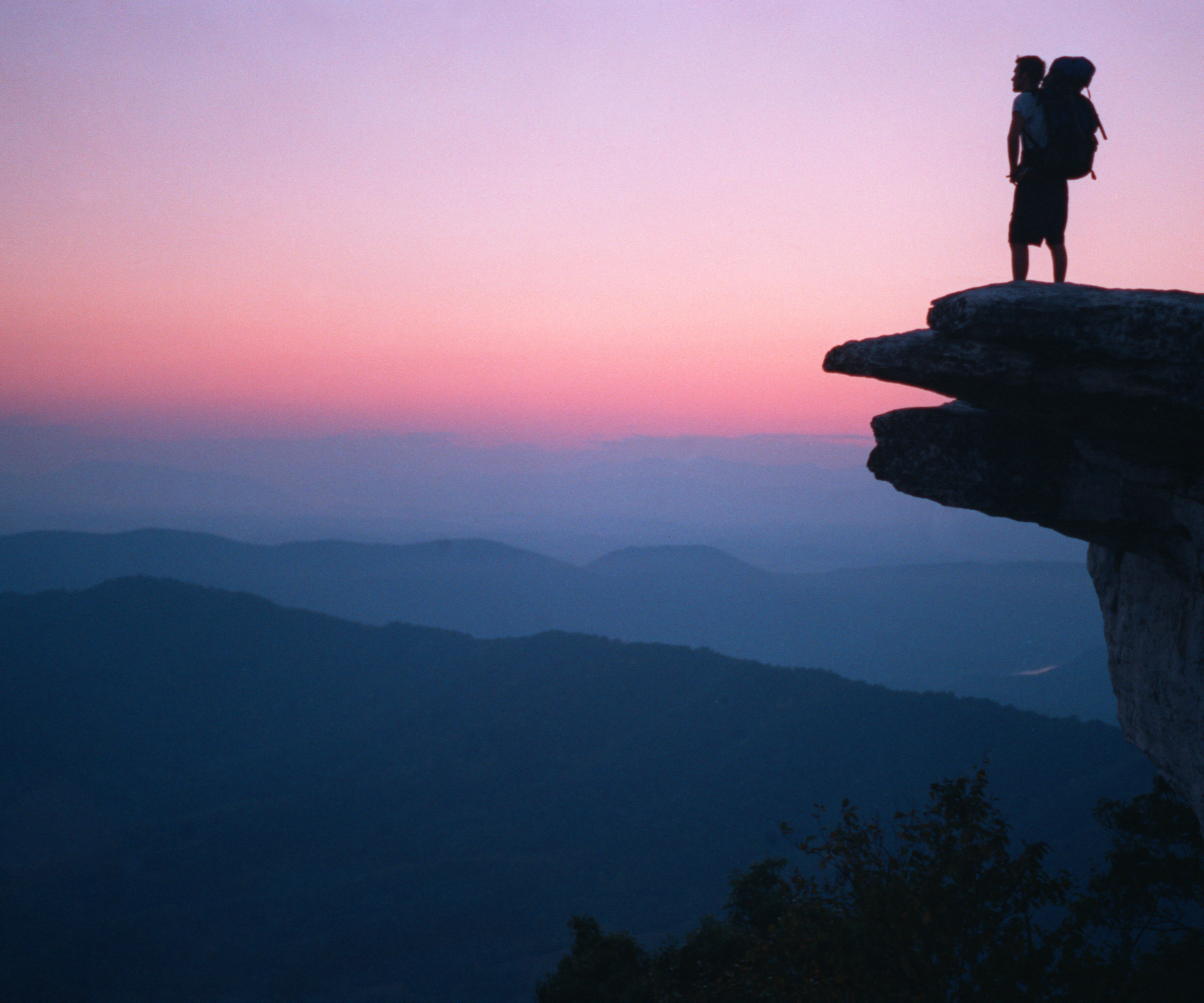 McAfee Knob At Sunset With Hiker (Appalachian Trail, Virginia)