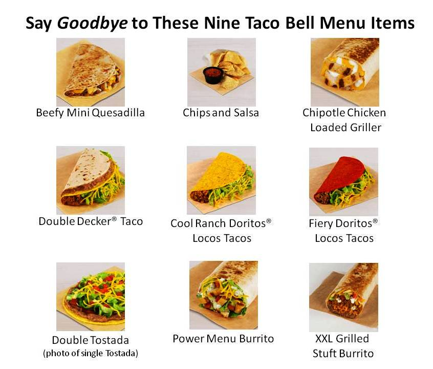 Taco Bell 9 Items Being taken off menu
