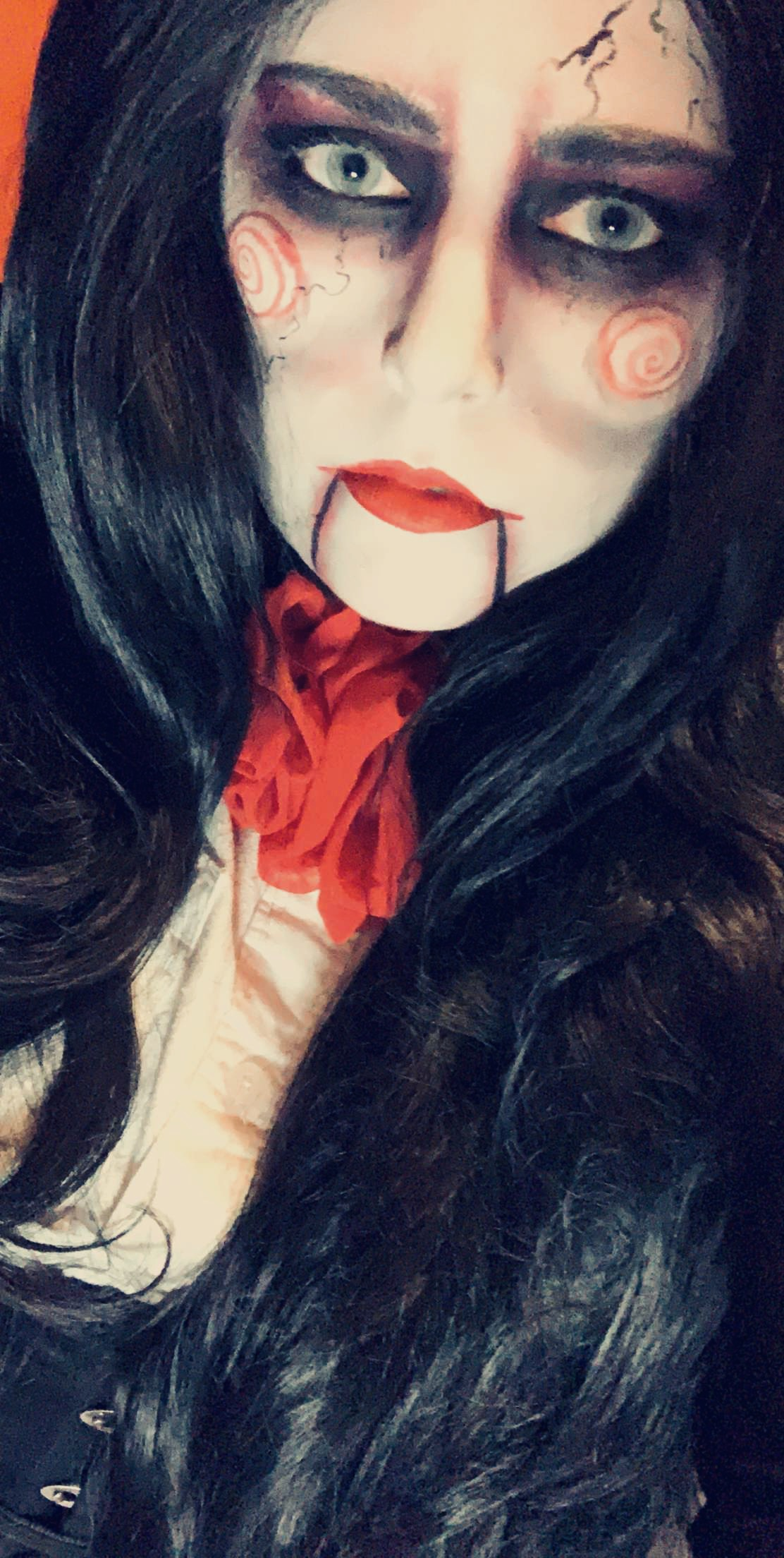 jigsaw, halloween horror-themed makeup look