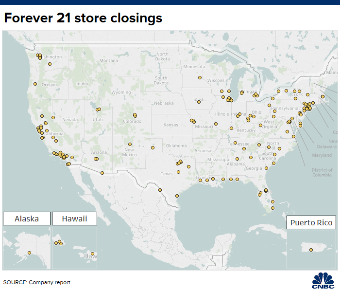 Forever 21 Closing Stores Map
