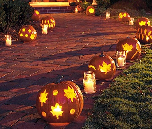 pumpkins with cookie cutter shapes