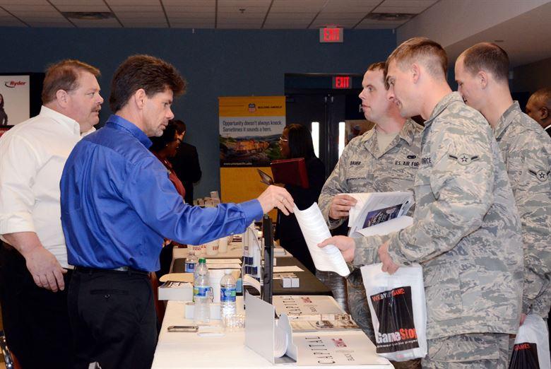 airmen at a civilian job fair