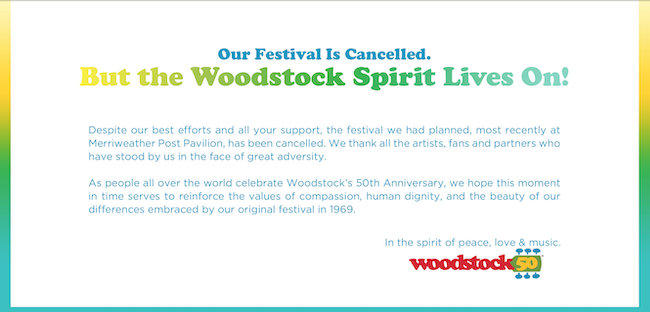 Woodstock cancellation announcement