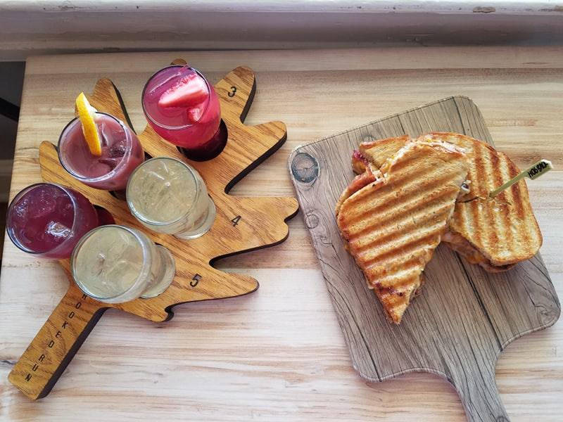sangria, grilled cheese sandwich