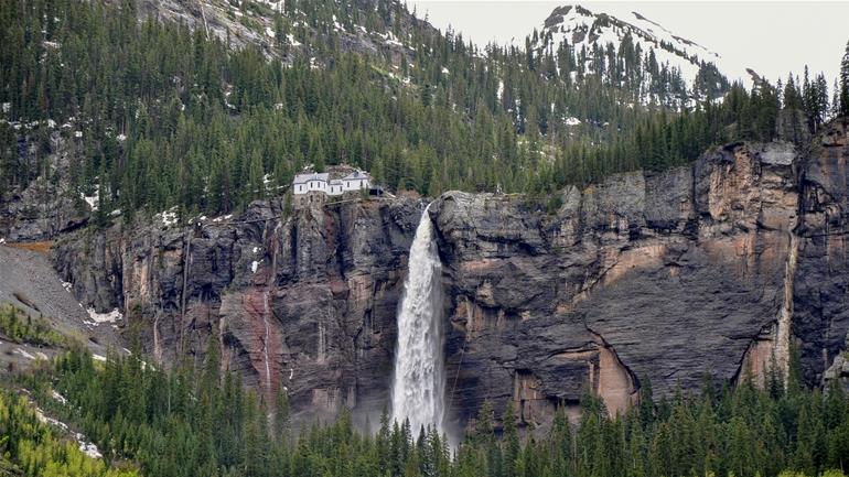 bridal veil falls near telluride, colorado