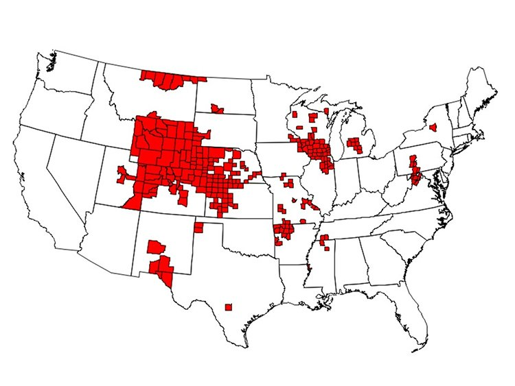 Counties reporting CWD in free-ranging deer, elk or moose.