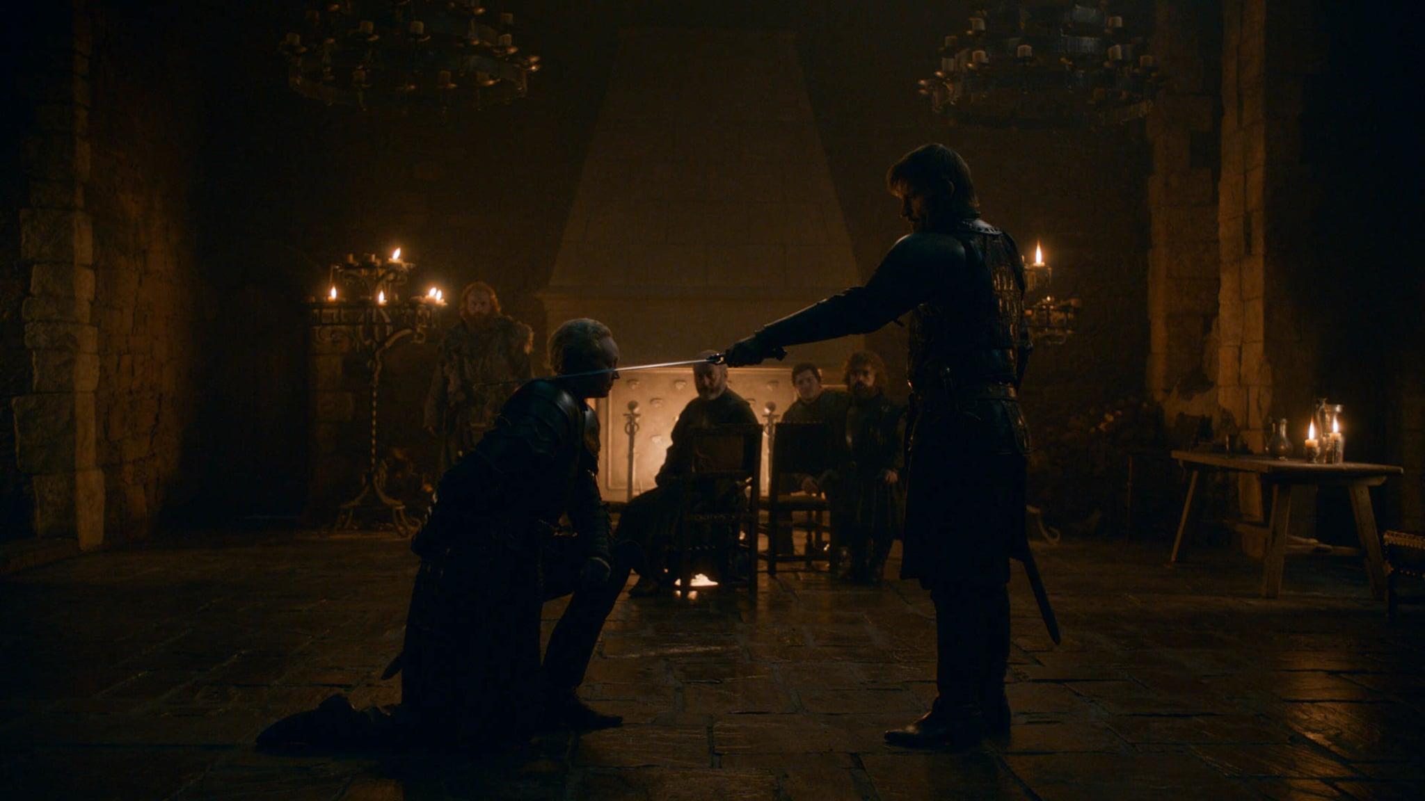 Jaime knighting Brienne
