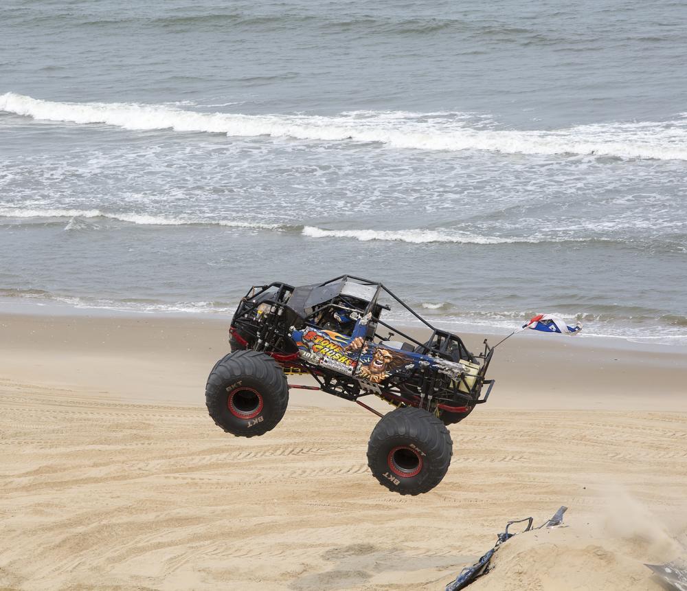 monster truck on the beach