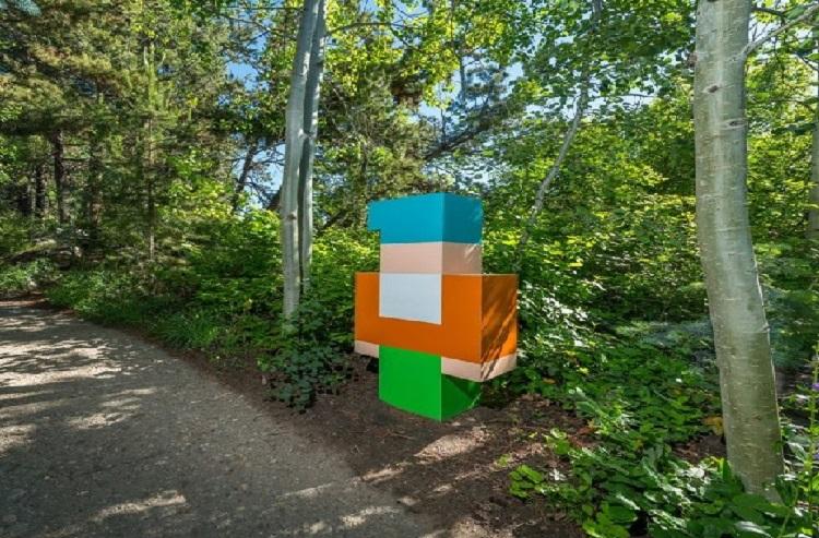 Pixelated exhibit at Denver Botanic Gardens