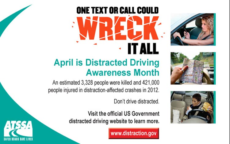 Distracted driving is responsible for numerous vehicle deaths each year. Photo courtesy Distraction.gov.