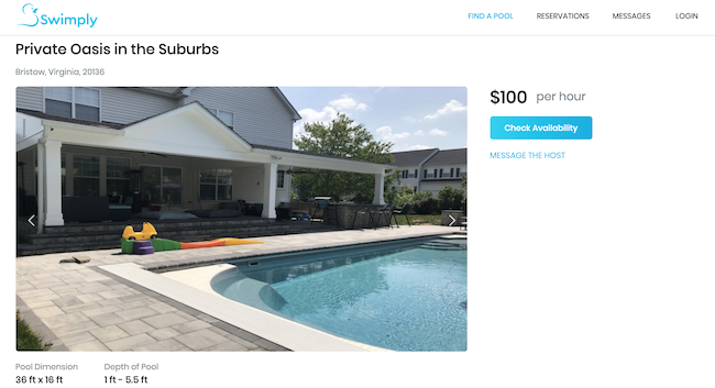 Simply pool sharing listing in Virginia