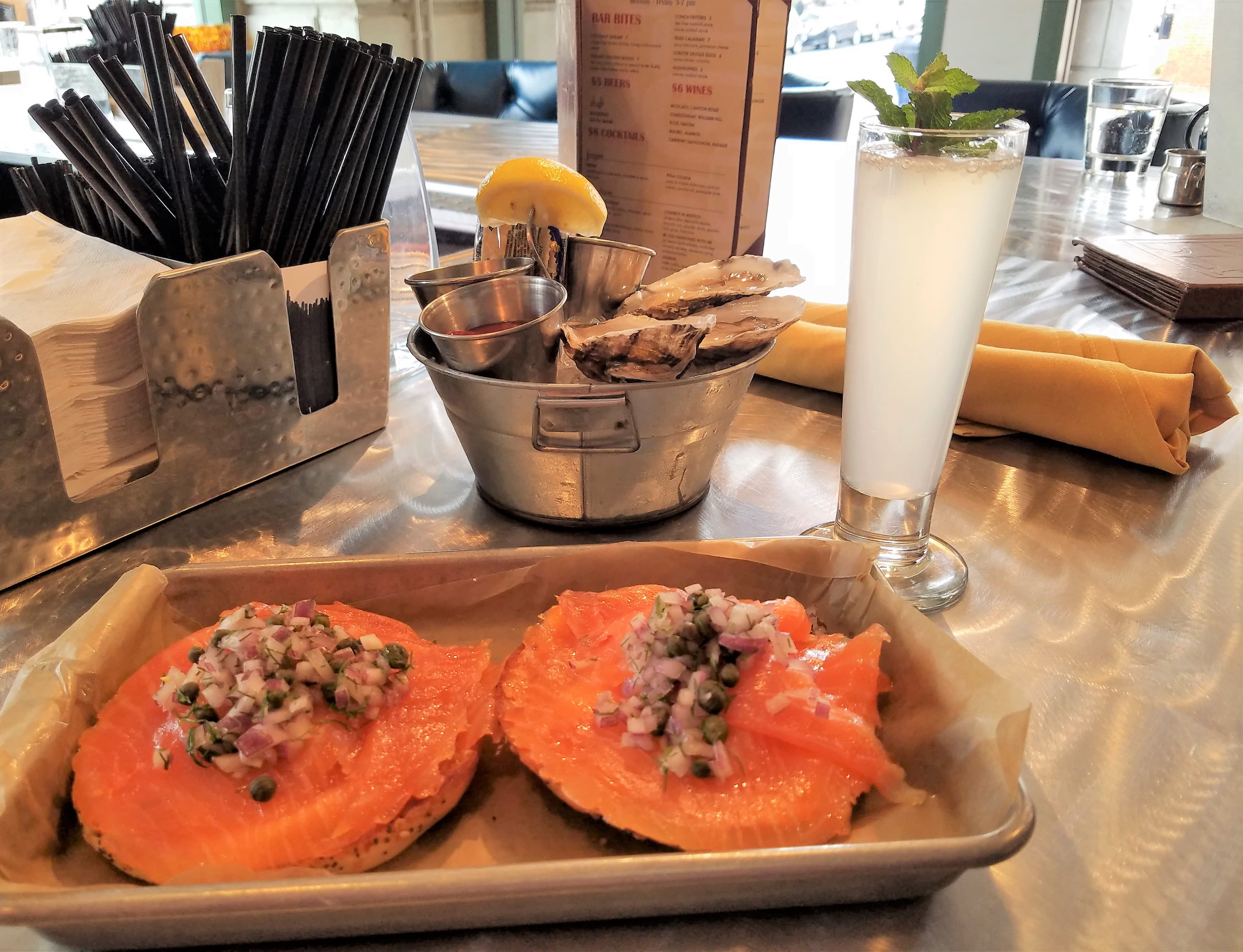 smoked salmon, bagel, oysters