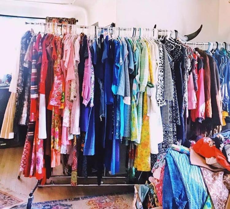racks of vintage clothing