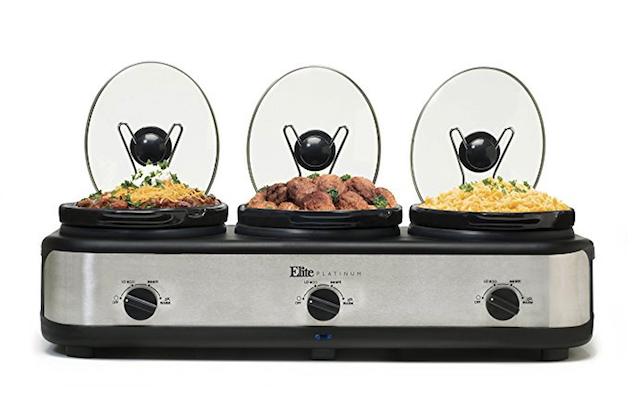 elite cuisine triple slow cooker buffet server