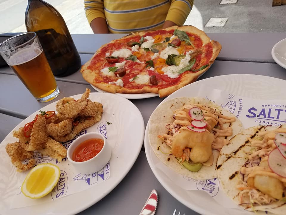 fried calamari, pizza, brewery, shrimp tacos