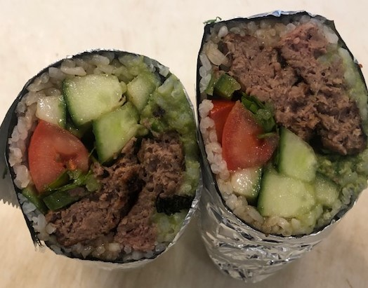 impossible meat sushi burrito