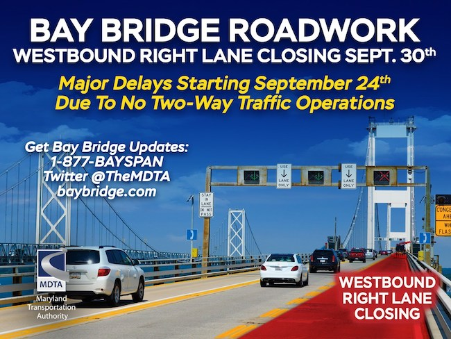 Bay Bridge construction closures, courtesy MDTA