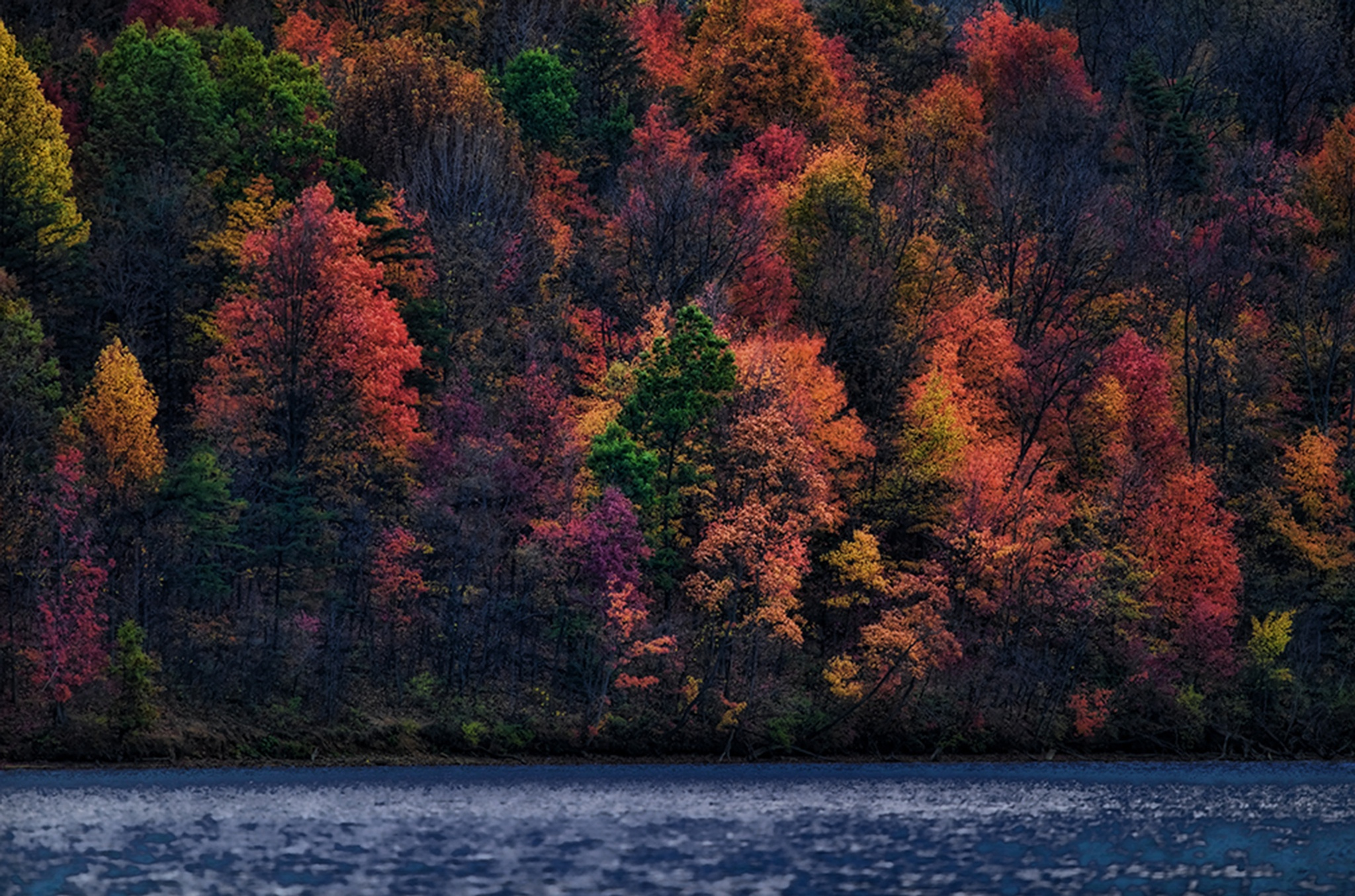 lake and mountain in fall colors