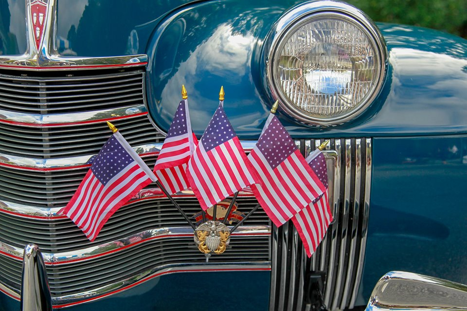 Classic Car American Flag
