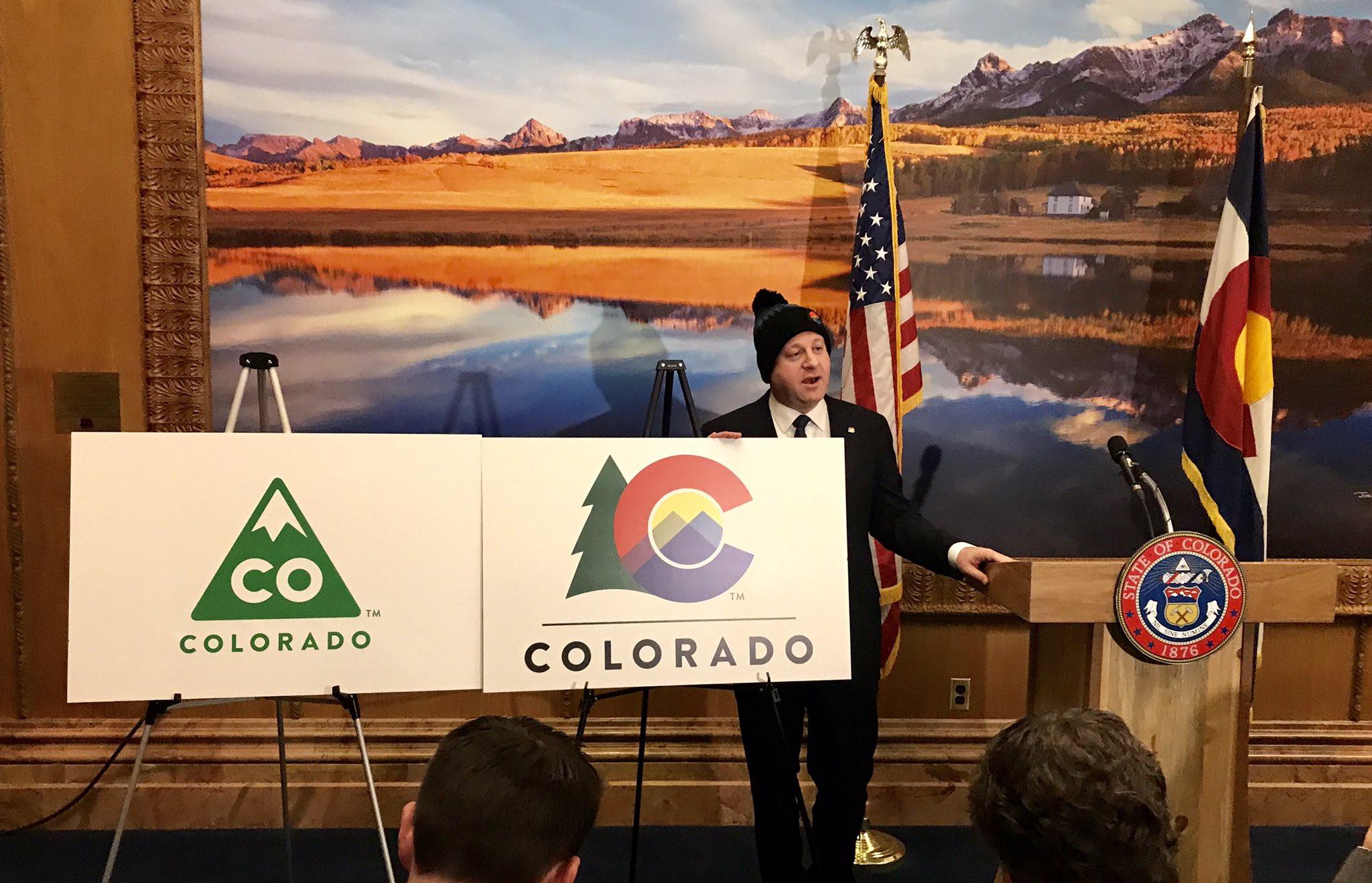 Governor Jared Polis reveals new Colorado logo
