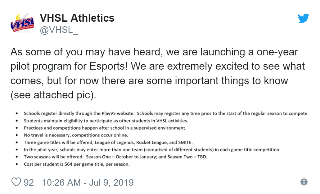 Esports VHSL Aesthetics Tweet Virginia Program Launch