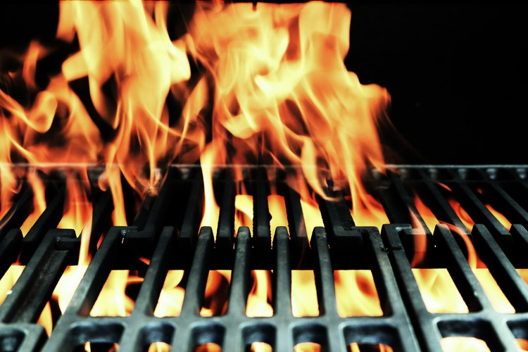 gas grill, flames