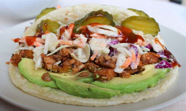 Barbecue tempeh taco with cole slaw.