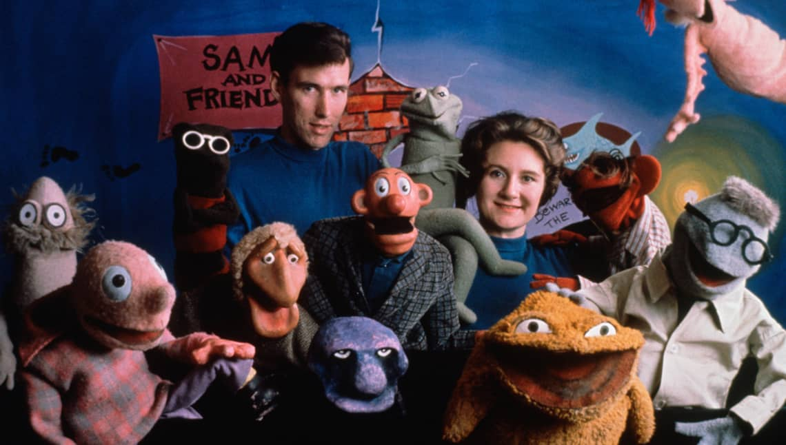 jim and jane henson with sam and friends