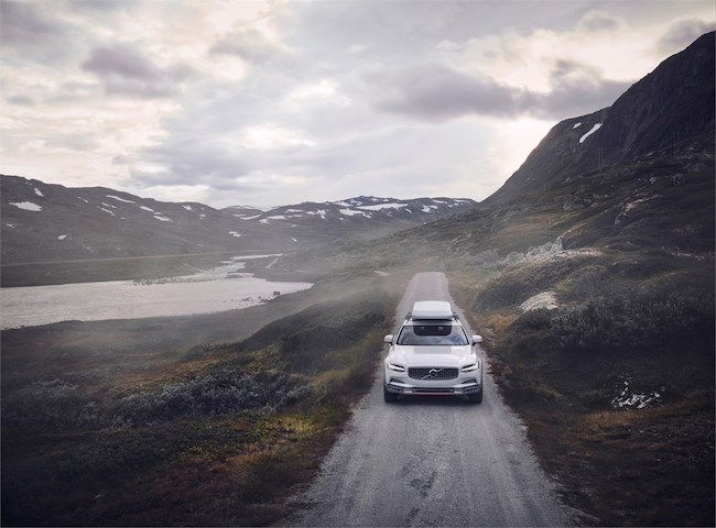 volvo cross country v90 on mountain road