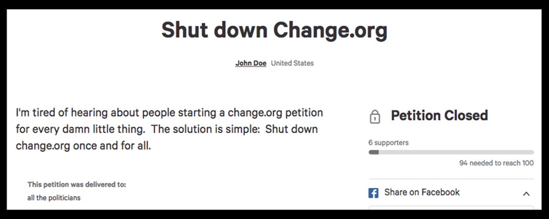 petition to shut down change.org