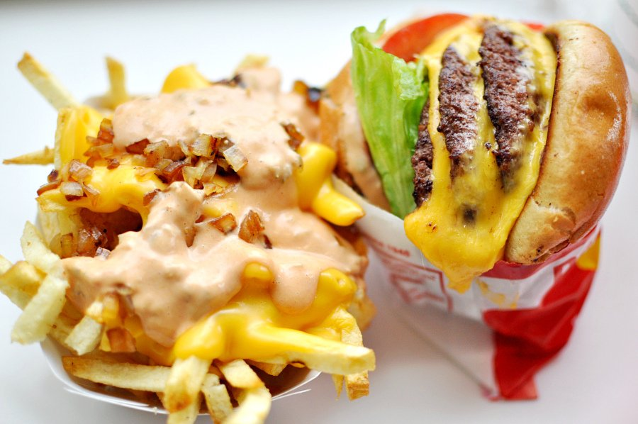 animal style fries and burger at in-n-out