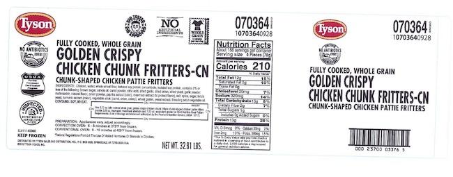 Tyson Chicken Fritter Recall Label, Jun. 5, 2019