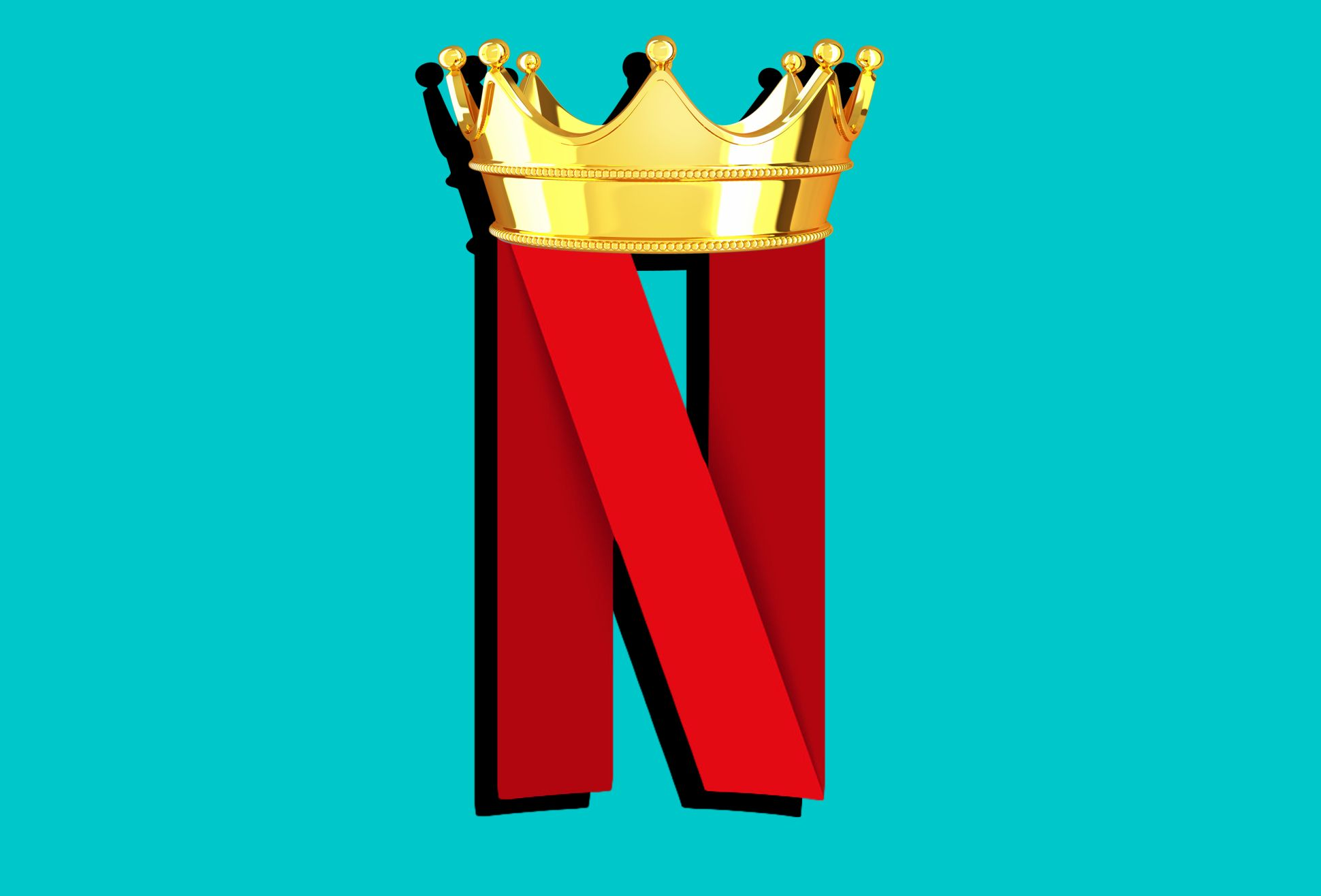 Netflix Letter Logo with Golden Crown Against Teal Turquoise Background Illustration