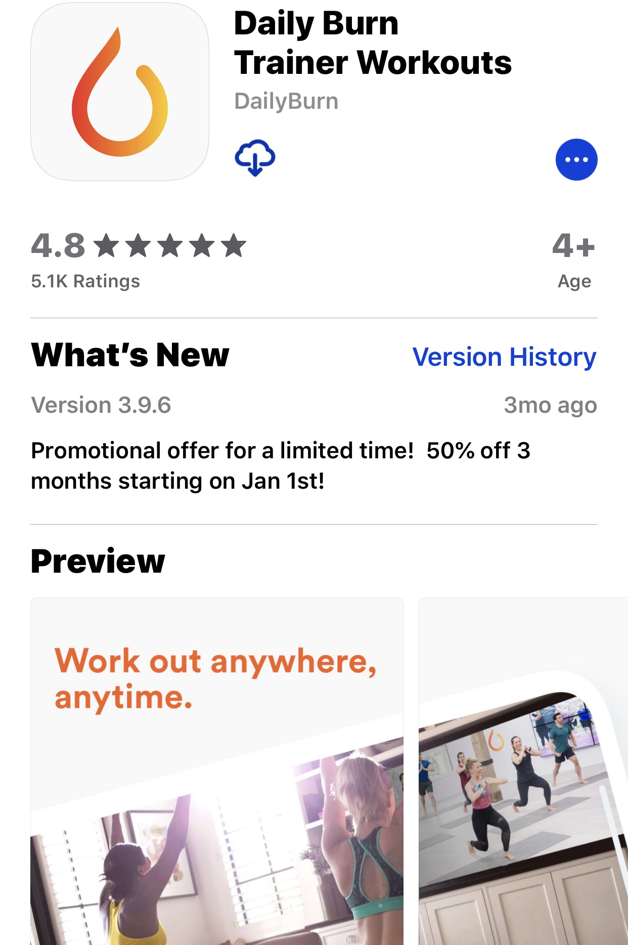 sreenshot of Daily Burn app