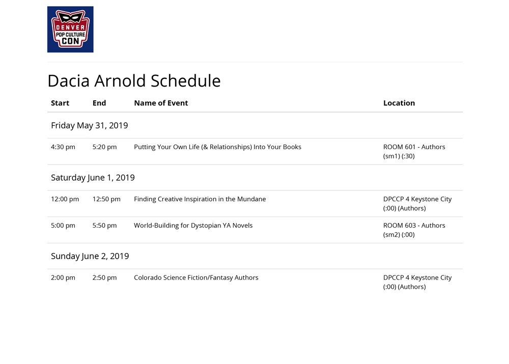 Dacia Arnold Schedule