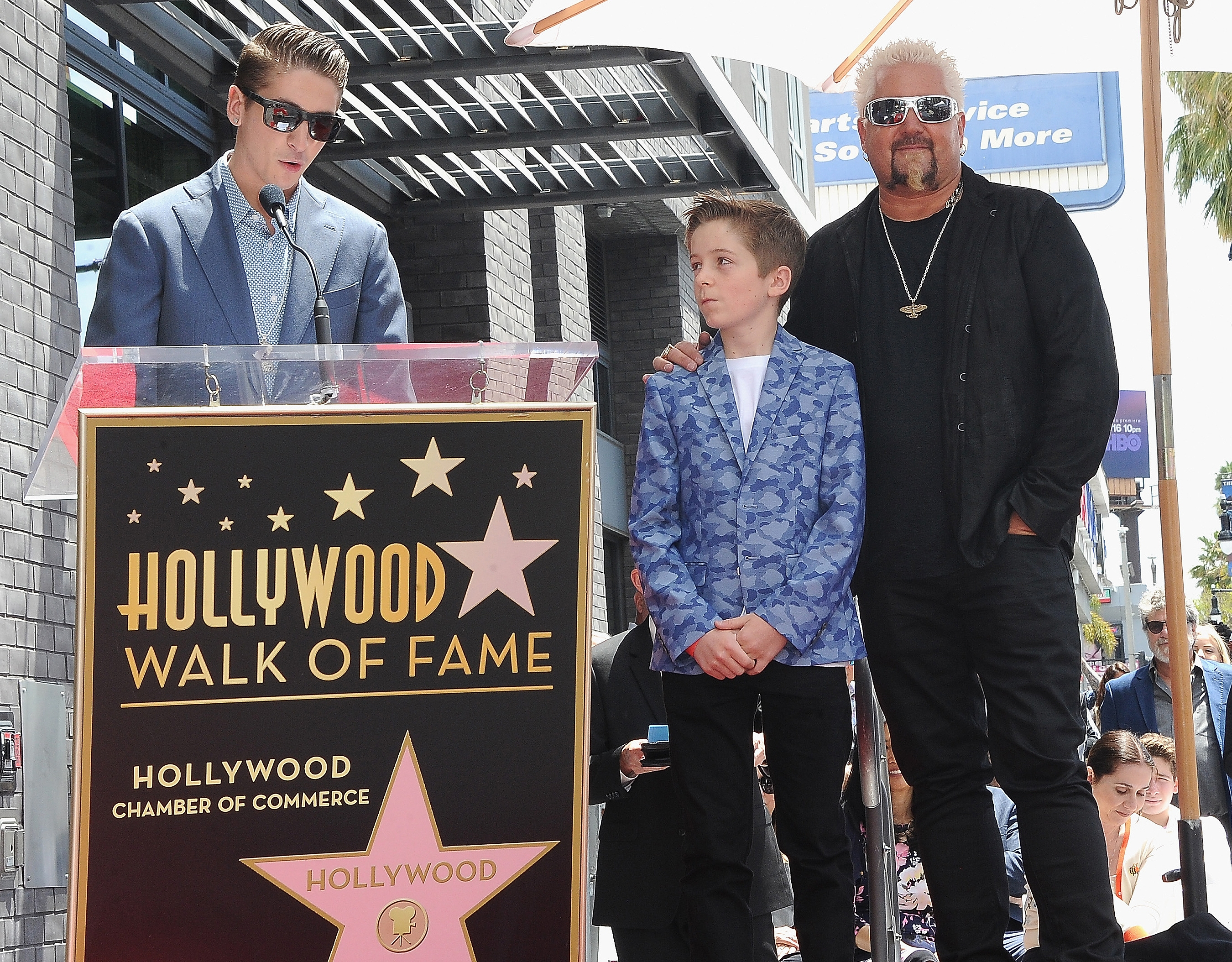 Guy Fieri Sons Hunter Ryder Hollywood Walk of Fame Food Network