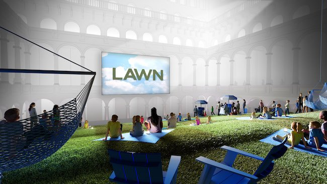 Rendering of Lawn at the National Building Museum, courtesy Rockwell Group