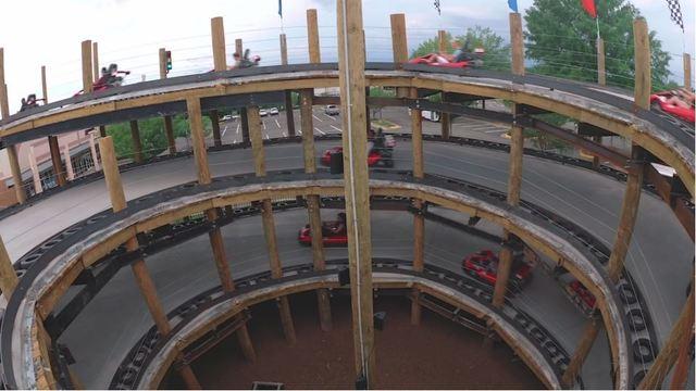 Inside go cart track