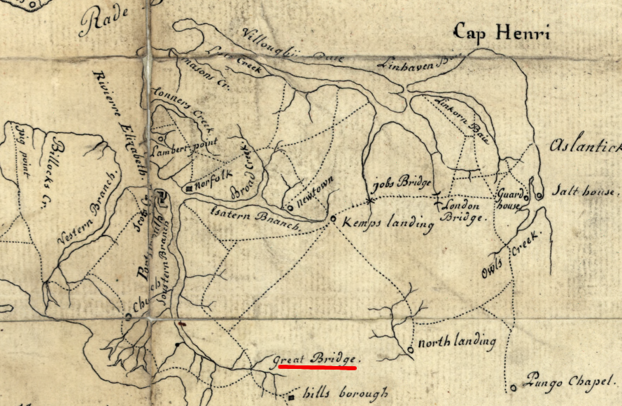 Map of The Battle of Great Bridge