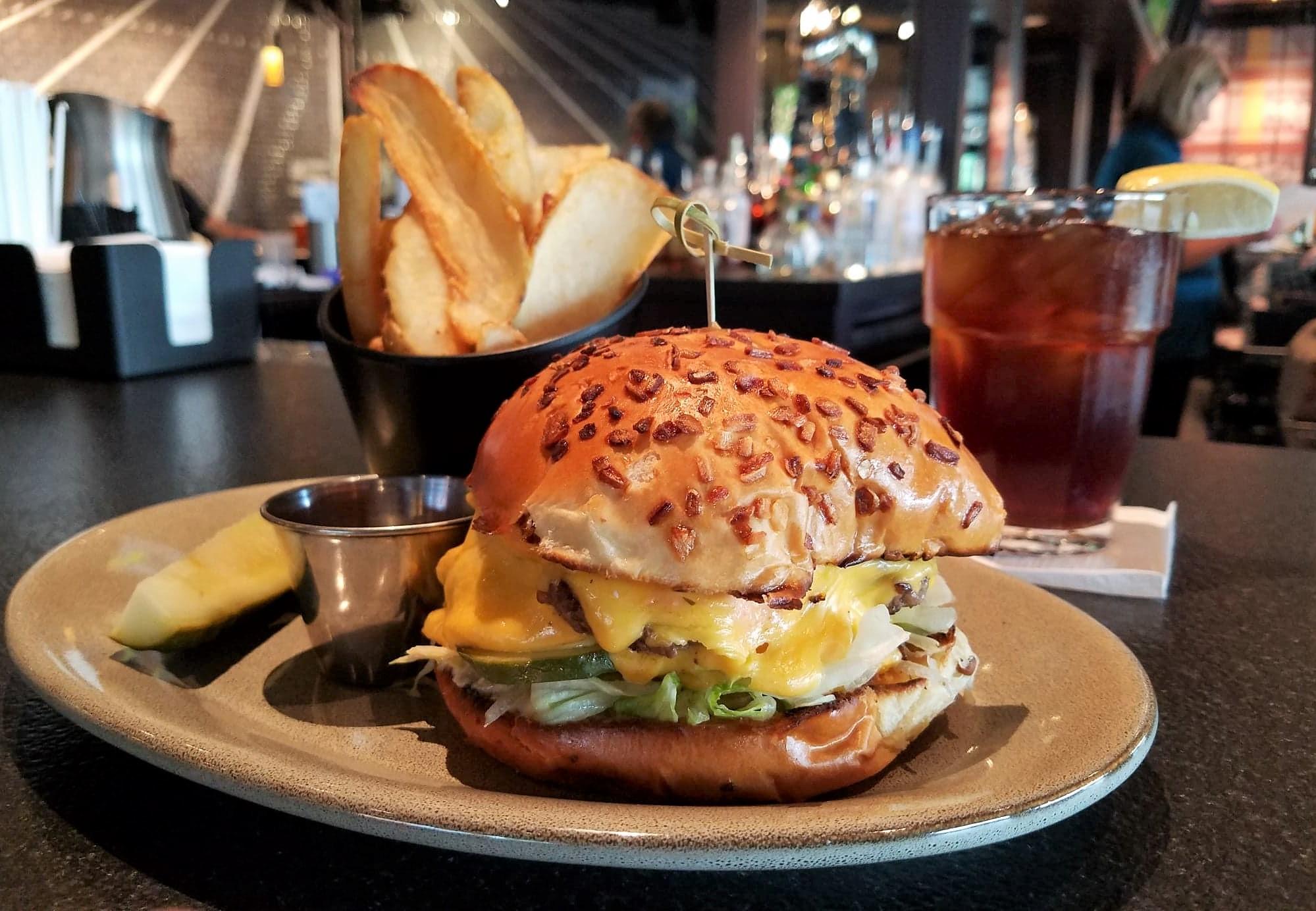 burger, fries, bar